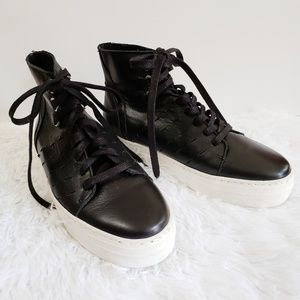 K-Swiss Modern Black Leather High Top, Size 7.5